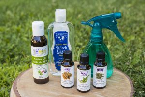 Castor oil, witch hazel and essential oils