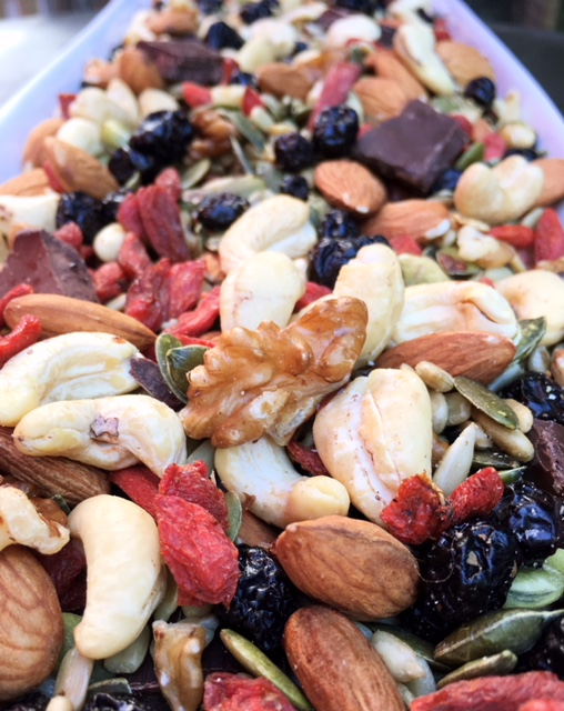 Close up of the trail mix