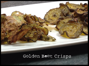 Golden beat chips on a plate