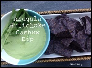 Arugula Artichoke Cashew Dip with purple corn chips