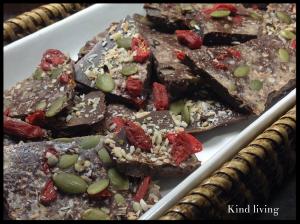 pieces of raw chocolate bark