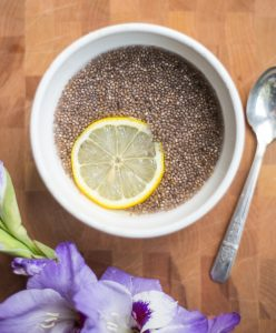 Chia Fresca with a slice of lemon
